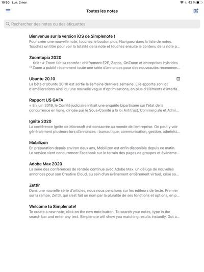 Simplenote iPad