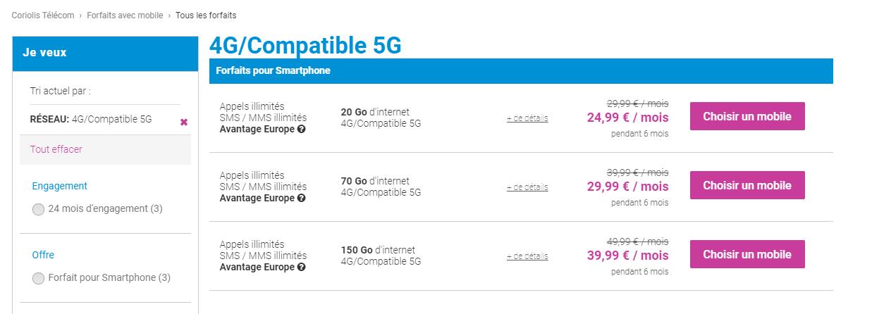 Coriolis Forfaits 5G