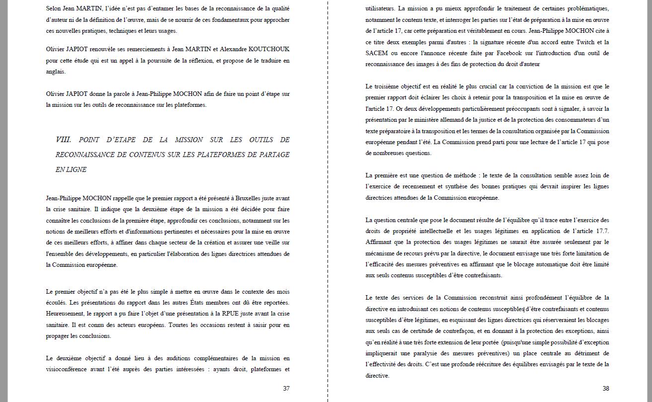 ministère culture CSPLA article 17 mochon directive