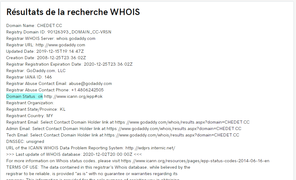 whois chedet.cd