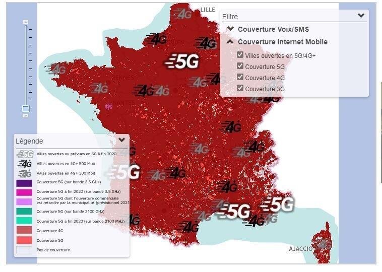Carte couverture 5G SFR