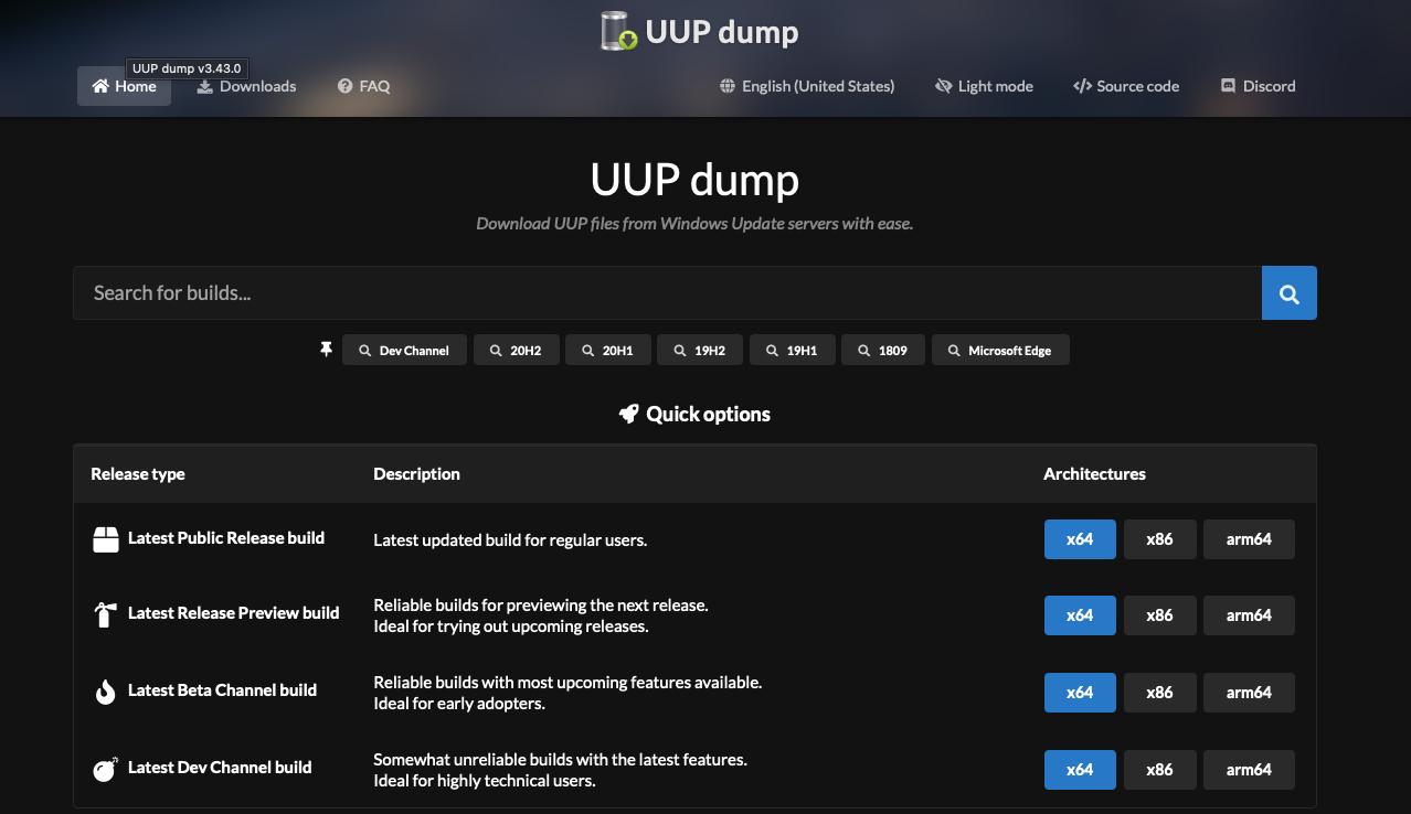 UUP Dump 2020