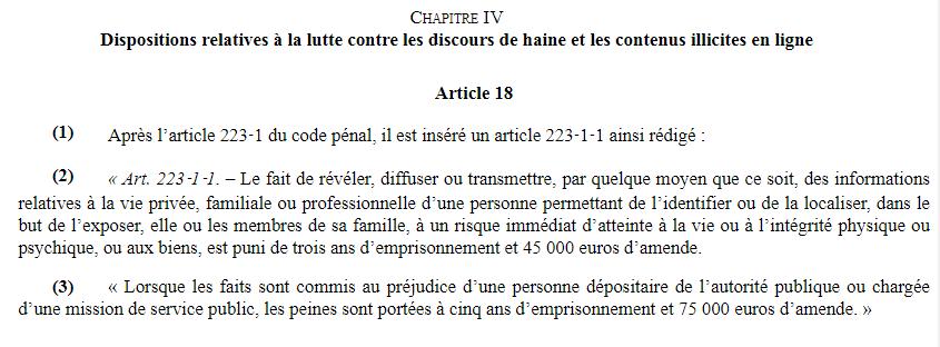 article 18 projet de loi séparatisme