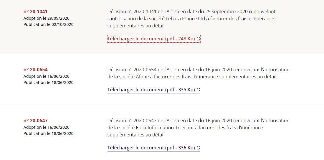 autorisation Arcep dérogation roaming UE