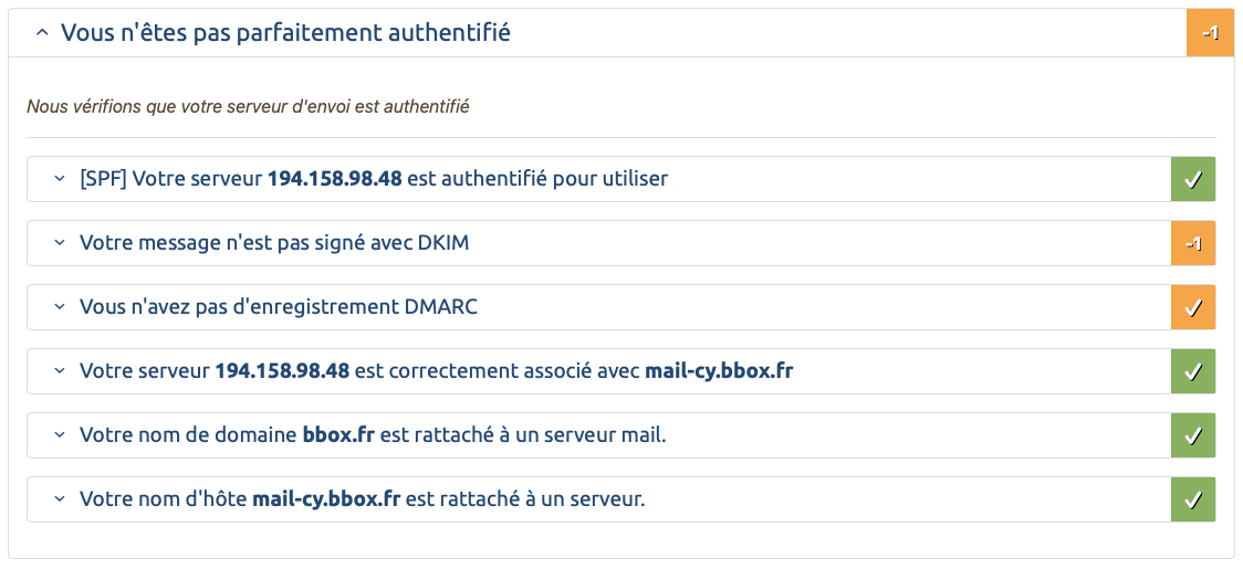 SPF DKIM ARC DMARC Bouygues Telecom