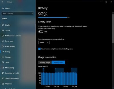 Windows 10 21H2 batterie