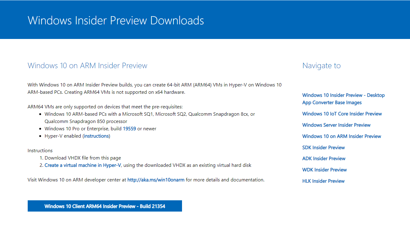 Windows 10 on ARM Insider Preview