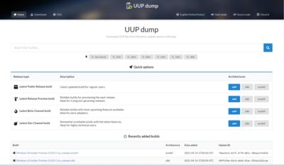 Windows 10 on ARM UUP Dump