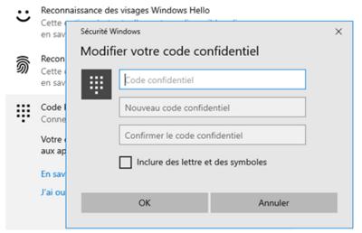 Code PIN Windows 10