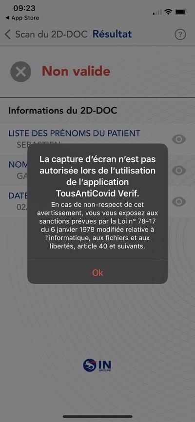 TAC Verif iOS capture écran