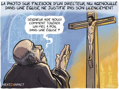 La photo sur Facebook d'un directeur, nu agenouillé dans une église, ne justifie pas son licenciement