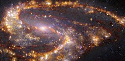 NGC 3627 vue par le VLT et l'ALMA dans plusieurs longueurs d'onde de lumière