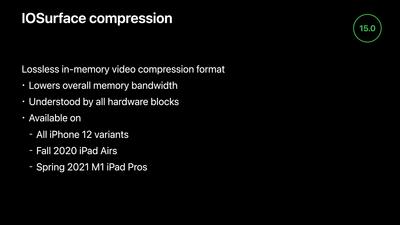 IOSurface Compression iOS 15
